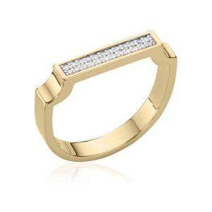 Monica Vinader 18ct Gold Vermeil Signature Diamond Ring White Diamond